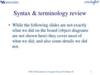 Syntax & terminology review