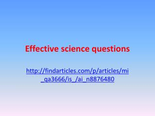 Effective science questions