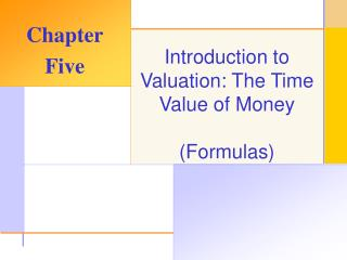 Introduction to Valuation: The Time Value of Money  Formulas