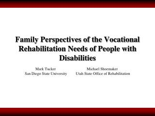 Family Perspectives of the Vocational Rehabilitation Needs of People with Disabilities