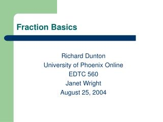 Fraction Basics