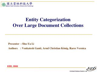 Entity Categorization  Over Large Document Collections