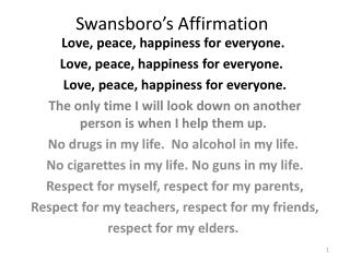 Swansboro's Affirmation