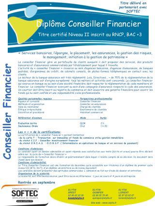 Diplôme Conseiller Financier Titre certifié Niveau II inscrit au RNCP, BAC +3