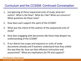 Curriculum and the CCSSM: Continued Conversation