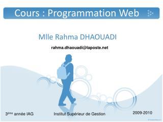 Cours : Programmation Web
