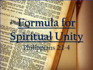 Formula for Spiritual Unity