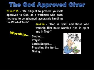 "Jn.4:24  - ""God is Spirit and those who worship Him must worship Him in spirit and in Truth"""