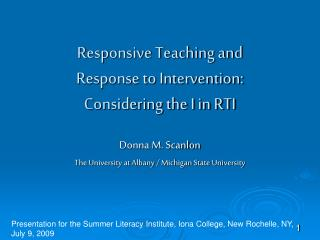 Responsive Teaching and  Response to Intervention:  Considering the I in RTI