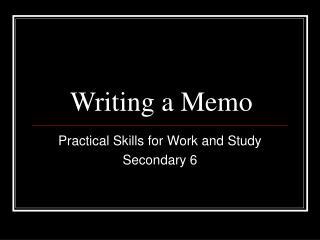Writing a Memo