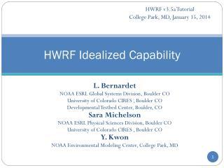 HWRF Idealized Capability