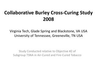 Study Conducted relative to Objective #2 of Subgroup TSNA in Air-Cured and Fire-Cured Tobacco