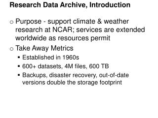 Research Data Archive,  Introduction