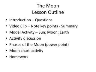 The Moon Lesson Outline