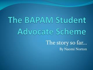 The BAPAM Student Advocate Scheme