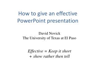 How to give an effective PowerPoint presentation