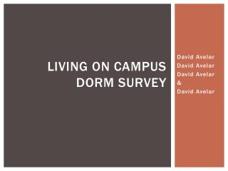 Living on campus  dorm survey
