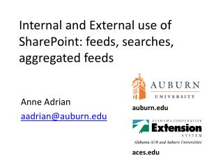 Internal and External use of  SharePoint: feeds, searches, aggregated feeds