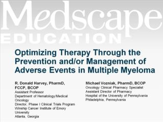 Optimizing Therapy Through the Prevention and/or Management of Adverse Events in Multiple Myeloma