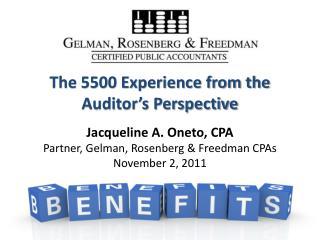 Jacqueline A. Oneto, CPA Partner, Gelman, Rosenberg & Freedman CPAs
