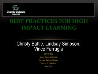 Best Practices for High Impact Learning