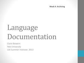 Language Documentation