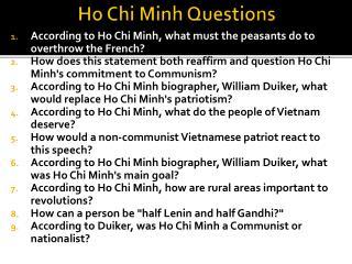 Ho Chi Minh Questions