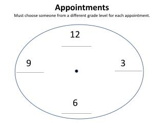 Appointments Must choose someone from a different grade level for each appointment.