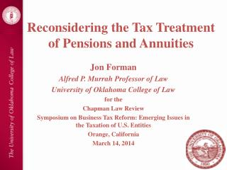 Reconsidering the Tax Treatment of Pensions and Annuities