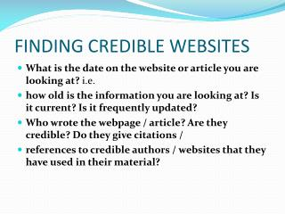 FINDING CREDIBLE WEBSITES