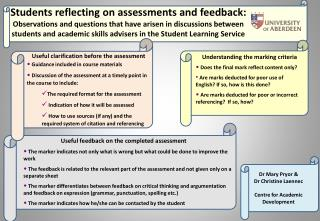 Students reflecting on assessments and feedback: