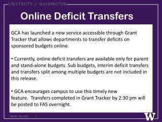 Online Deficit Transfers