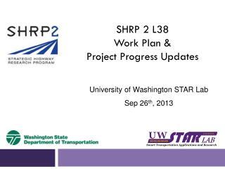 SHRP 2 L38  Work  Plan &  Project Progress Updates