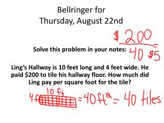 Bellringer  for  Thursday,  August  22nd