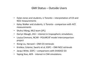 GMI Status – Outside Users