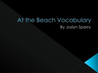 At the Beach Vocabulary
