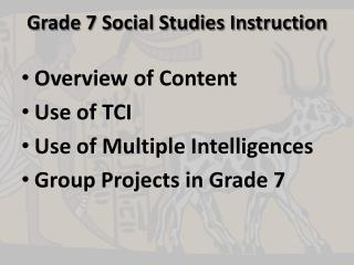 Grade 7 Social Studies Instruction