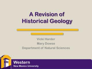A Revision of Historical Geology