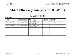 MAC Efficiency Analysis for HEW SG