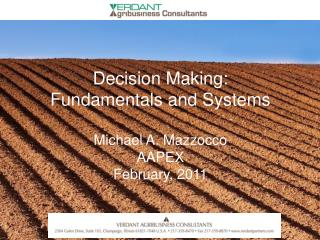 Decision Making: Fundamentals and Systems Michael A.  Mazzocco AAPEX February, 2011