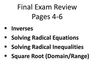 Final Exam Review Pages 4-6
