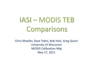 IASI – MODIS TEB Comparisons