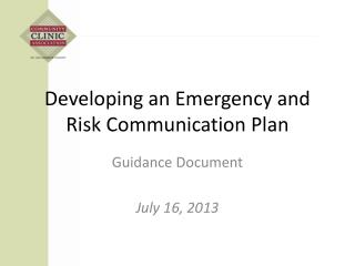 Developing an Emergency and Risk Communication Plan