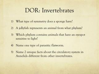 DOR: Invertebrates