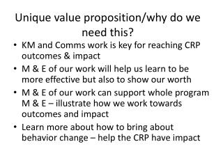 Unique value proposition/why do we need this?