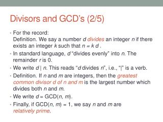 Divisors and GCD's (2/5)