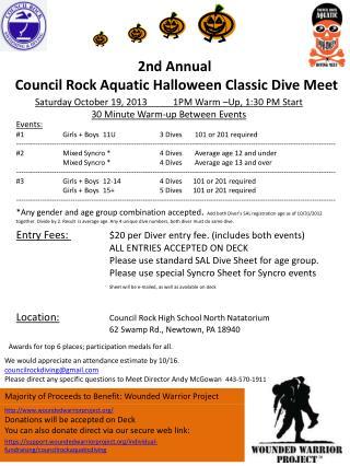 2nd  Annual  Council Rock Aquatic Halloween Classic Dive Meet