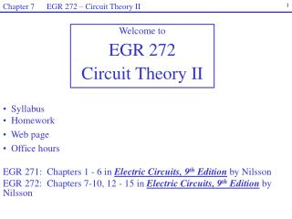 Welcome to  EGR  272 Circuit Theory II