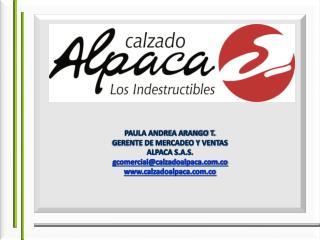 PAULA ANDREA ARANGO T. GERENTE DE MERCADEO Y VENTAS ALPACA S.A.S. gcomercial@calzadoalpaca.co