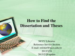 How to Find the Dissertation and Theses